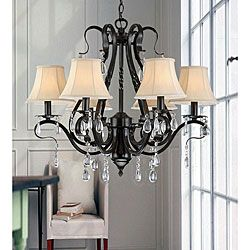 @Overstock.com - Black Iron 6-light Crystal Chandelier - Brighten your space in style with this elegant black iron chandelier that is perfect for living rooms, dining rooms and entryways. With its dainty beige fabric shade and a 39.5-inch chain, this six-light chandelier makes a great conversation starter.  http://www.overstock.com/Home-Garden/Black-Iron-6-light-Crystal-Chandelier/4512407/product.html?CID=214117 $178.19