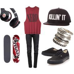 skater girl outfit killin it flat rim nerd muscle tee