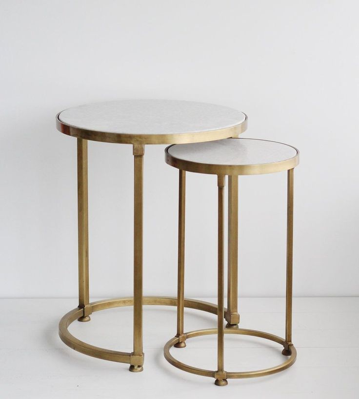Round Nesting Tables Brass | Set of 2