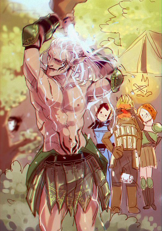 Leliana, the Warden, & Morrigan perving over Zevran. Poor Alistair. Dragon Age: Origins.