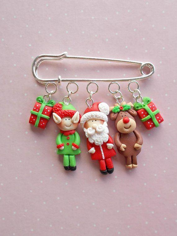 Christmas Jewelry Christmas Pin Brooch Accessory Christmas Gifts Christmas Jewellery Adornos De Arcilla Polimerica Joyeria De Navidad Arcilla De Navidad