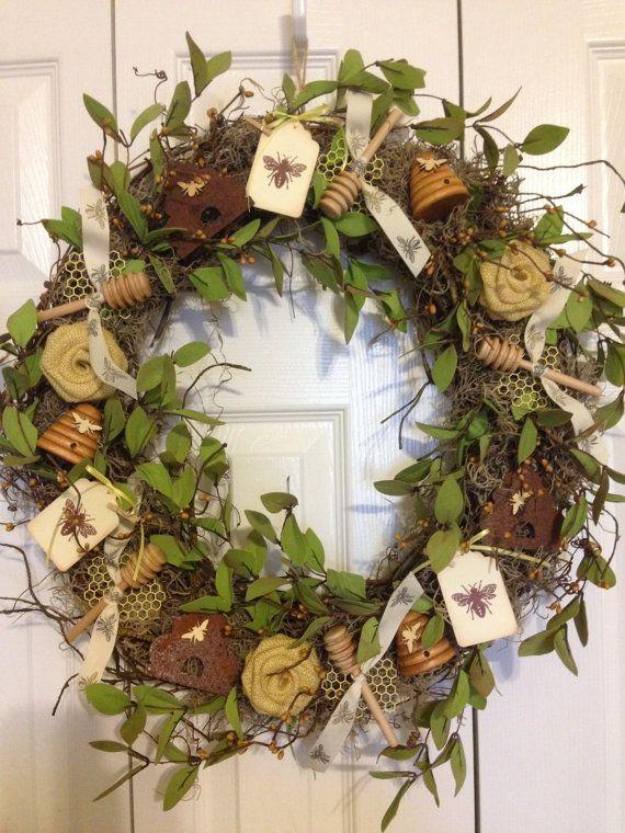 Handmade Honeybee Bee Wreath FREE SHIPPING by StellarsJayCreations, $146.00