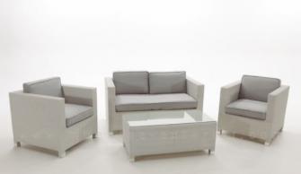 Sofas y muebles de jardin en rattan sint tico blanco for Rattan sintetico muebles jardin