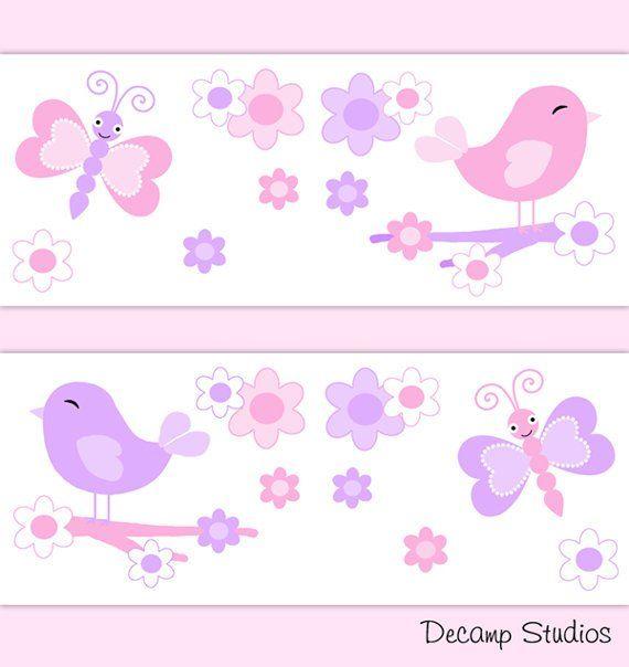 Butterfly Chickadee Nursery Girl Wallpaper Border Decals Baby Wall Art Pink Purple Bird Floral Ki Nursery Wallpaper Border Floral Kids Room Decor Baby Wall Art