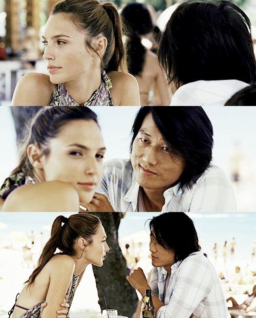 rapido y furioso 5/Han y Giselle/escena de la playa en Brasil