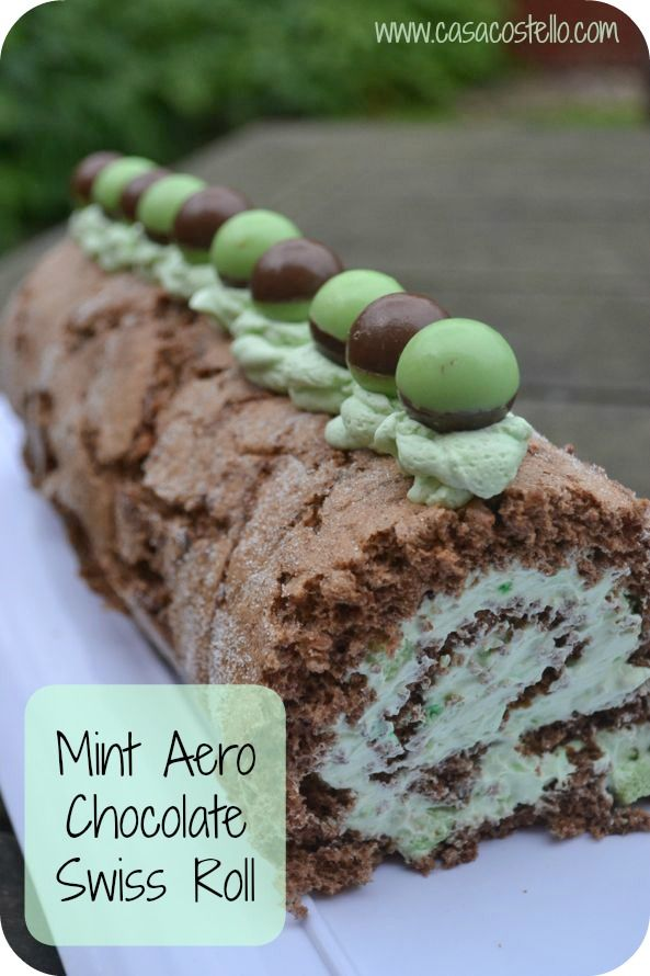 Mint Aero Chocolate Swiss Roll #Baking #Cake #Chocolate #Mint