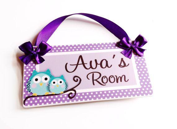 personalized owls bedroom decor kids door signs   girls nursery purple and  teal decor. 25  unique Kids door signs ideas on Pinterest   Initial door