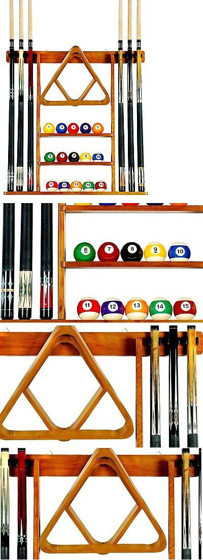Ball and Cue Racks 75185: Pool Table Accessories Cue Holder Racks Stick Billiard Ball Storage Honey Stand BUY IT NOW ONLY: $58.96