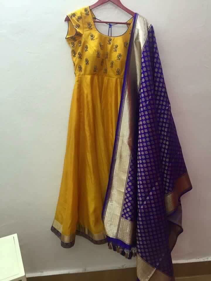 Yellow with blue dupatta