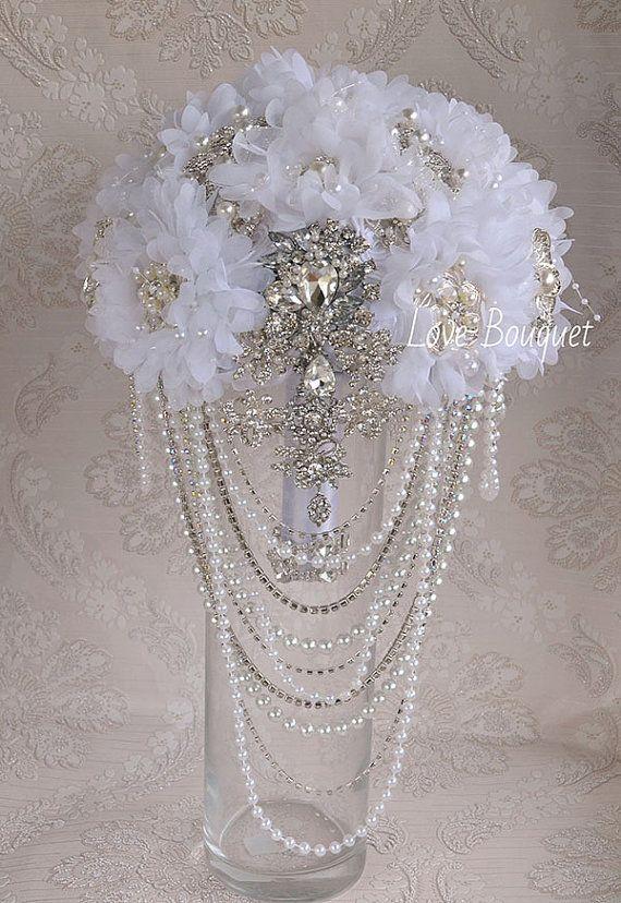 WEDDING BROOCH BOUQUET Jeweled White Brooch Bouquet by LoveBouquet