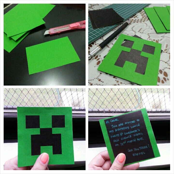 DIY Creeper Party Invitation: Black and Green cardstock + metallic green gel pen = awesome yet budget-friendly party invite.