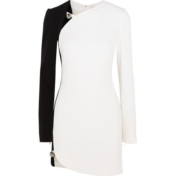 Mugler Two-tone crepe mini dress ($1,440) ❤ liked on Polyvore featuring dresses, white, long sleeve cutout dress, short dresses, cut out mini dress, long sleeve mini dress and short white dresses