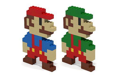 8 Bit Cartoon Characters : Mario and luigi bit lego cartoon characters