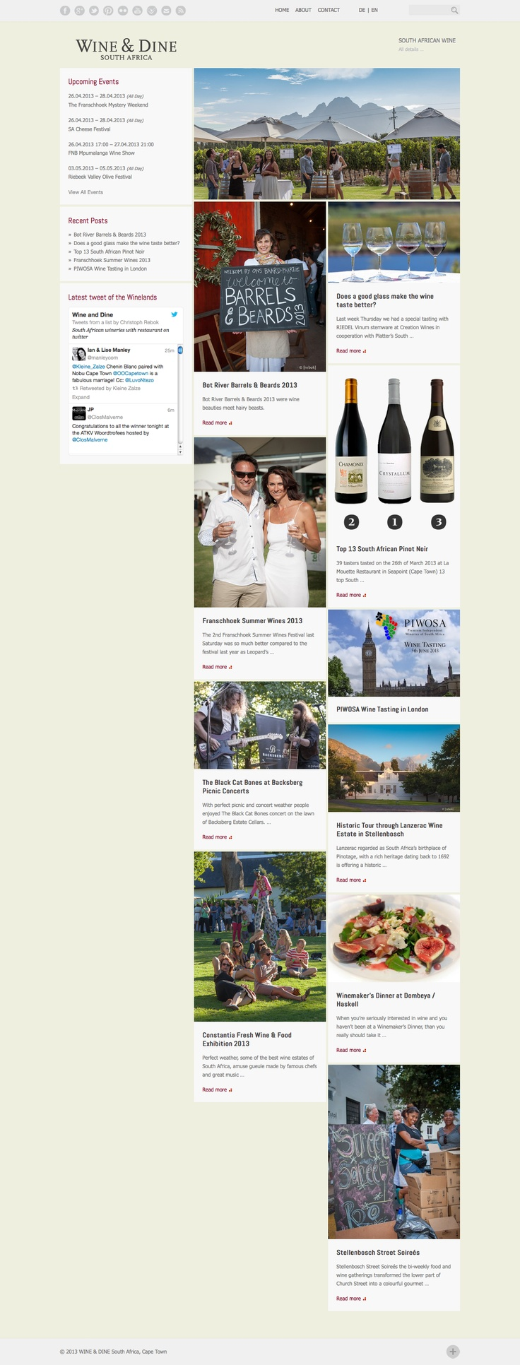 WINE & DINE South Africa website http://wineanddinesouthafrica.com
