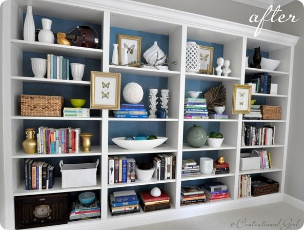 Billy bookcases to built ins....love the painted backdrop.: Bookshelves, Built Ins, Ikea Billy Bookcase, Living Room, Builtin, Design, Billy Bookcases, Ikea Hack