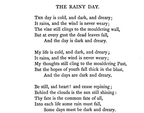 "Henry Wadsworth Longfellow, ""The Rainy Day"""