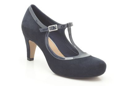 Clarks Chorus Thrill, Navy Suede, Womens Smart Shoes