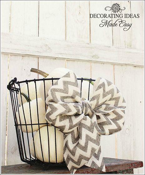 chevron burlap bow, white pumpkins and a metal basket