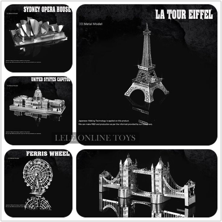 Eiffel Tower/Ferris wheel/Himeji Jo/Brooklyn Bridge Originality puzzles 3D Metal model Originality Nano Stainless steel DIY #>=#>=#>=#>=#> Click on the pin to check out discount price, color, size, shipping, etc. Save and like it!