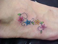small colorful flower tattoos