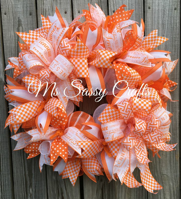 Tennessee Wreath - Tennessee Deco Mesh Wreath - Orange and White Wreath - Team Wreath - Tennessee Team Wreath - Tennessee Door Hanger by MsSassyCrafts on Etsy https://www.etsy.com/listing/456652486/tennessee-wreath-tennessee-deco-mesh