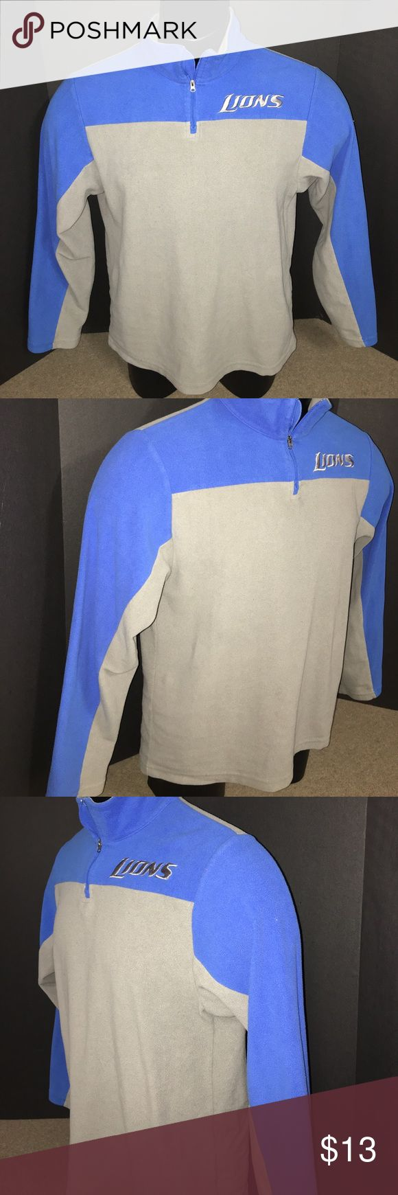 NFL Apparel Detroit Lions Pullover Fleece Men's SM Men's Size Small Pullover Fleece. Detroit Lions. NFL Team Apparel. Honolulu Blue and Silver. Stitched Logo on chest. No rips, holes, snags or stains. Not perfect - does show average signs of wear, but still very nice and wearable. NFL Shirts Sweatshirts & Hoodies