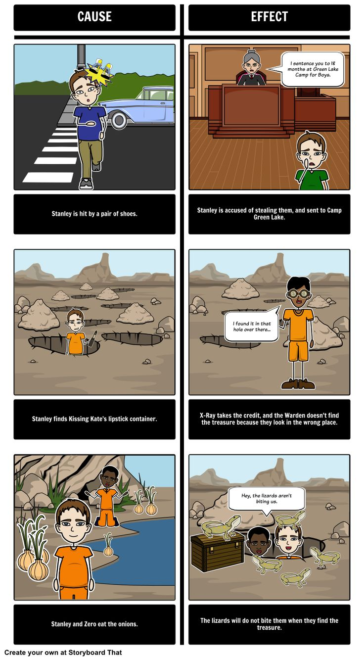 "Here is an example of a Cause and Effect storyboard for ""Holes""."
