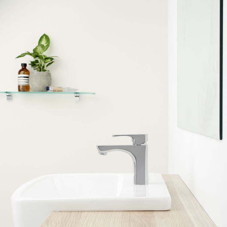 Dorf Napoleon Basin Mixer paired with Caroma semi recessed basin #Dorf #Dorfstyle #Design #Styling #Bathroom #Nordic #Scandinavian #Tapware #MixerTap #Tap #Vanity #Mirror