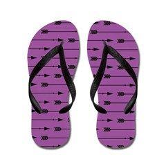Arrow Pattern Purple Flip Flops