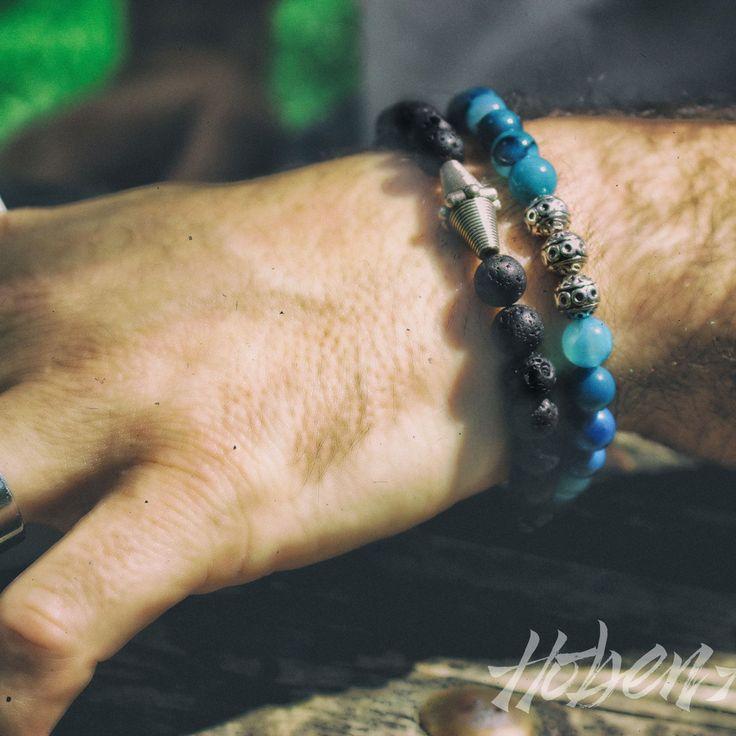 Gioielli fatti a mano con pietre dure, Agata blu e pietra lavica. Con inserto di argento tibetano