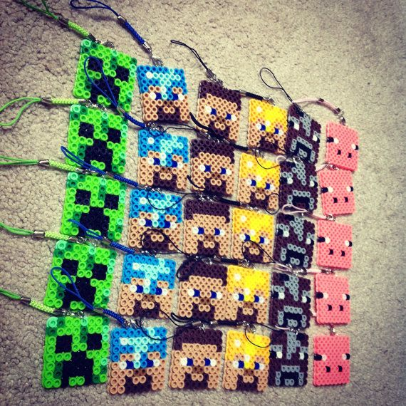 Party Favor Minecrafts characters Perler Bead by Crafinity on Etsy
