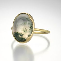 Oval Green Moss Agate Ring,Gabriella Kiss