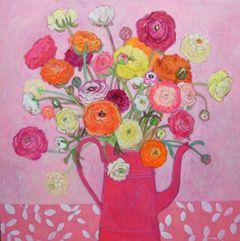 Andrea Letterie, Ranonkels roze kan, Gemengde techniek op paneel, 80x80 cm, €.1500,-