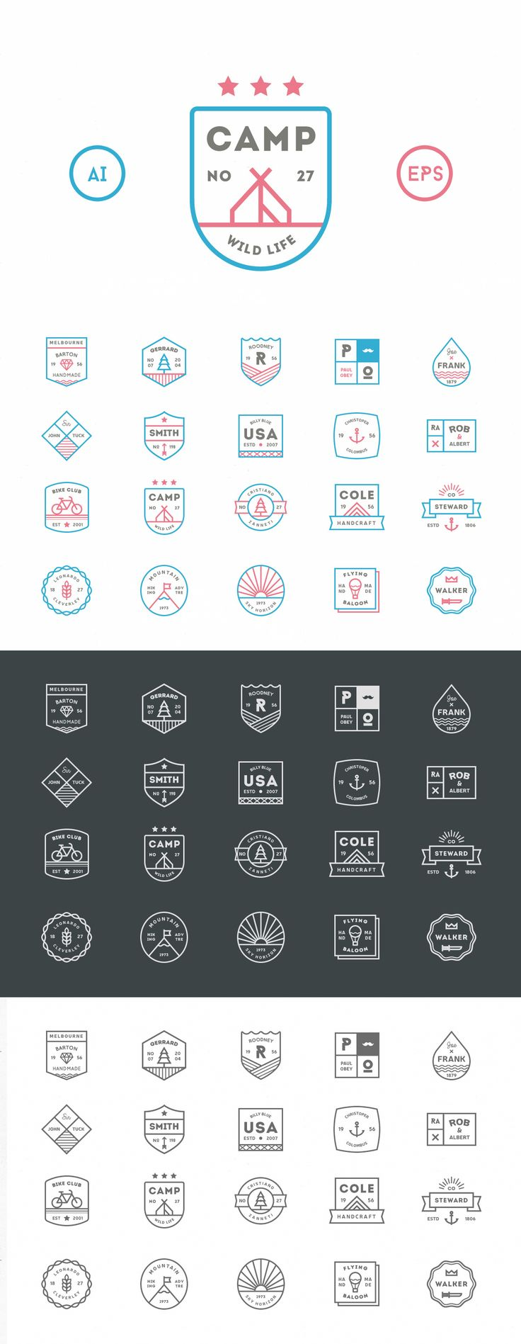 Awesome 20 Line Badges #design Download: https://creativemarket.com/vuuuds/124140-20-Line-Badges?u=ksioks