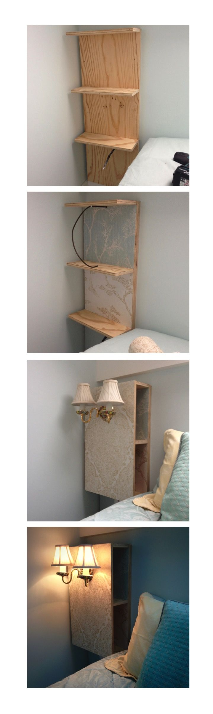 Space saving bedside cabinet made by Jane Handford Design, DIY have a go!