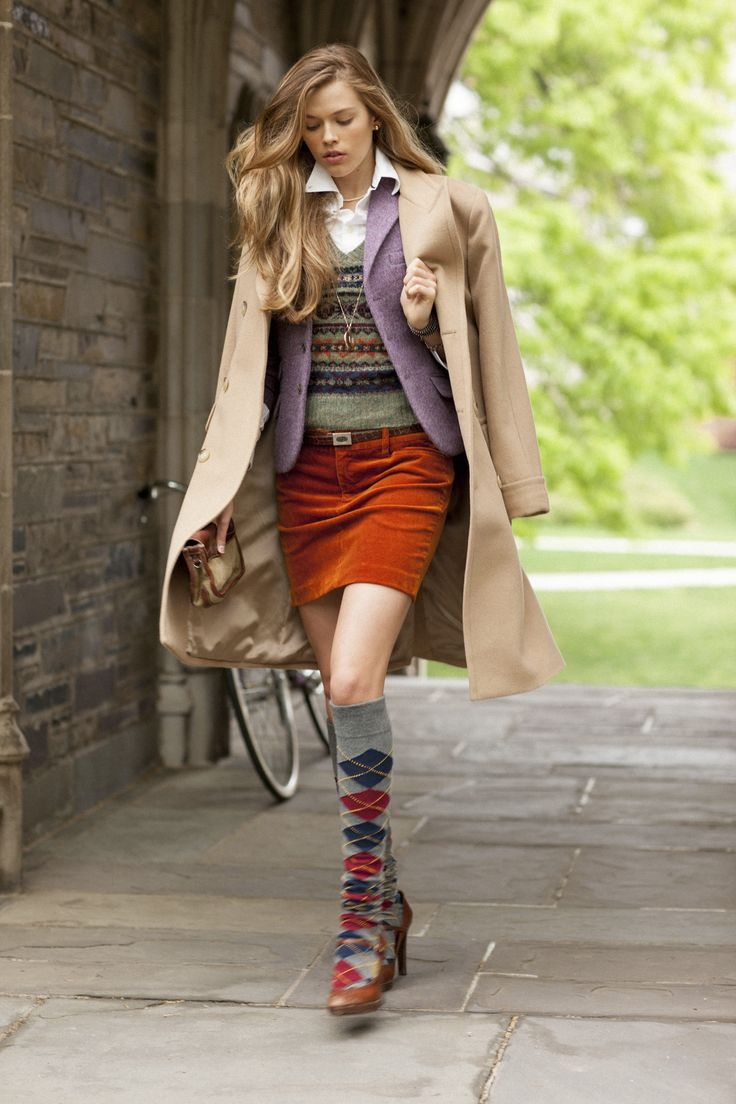 Camel coat, tweed blazer, fair isle sweater, button up shirt, corduroy skirt, argyle socks