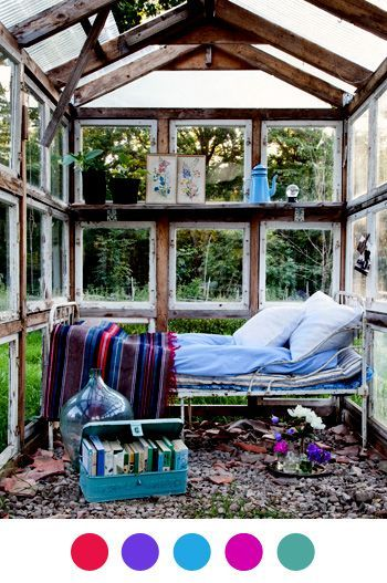 We love this creative reading nook idea -- all you need is a bed and some pillows to convert a small greenhouse into a bright, cozy reading space!