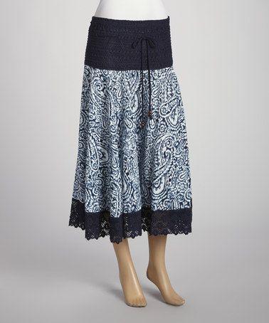 Love this Navy & White Batik Peasant Skirt by Mix Nouveau on #zulily! #zulilyfinds