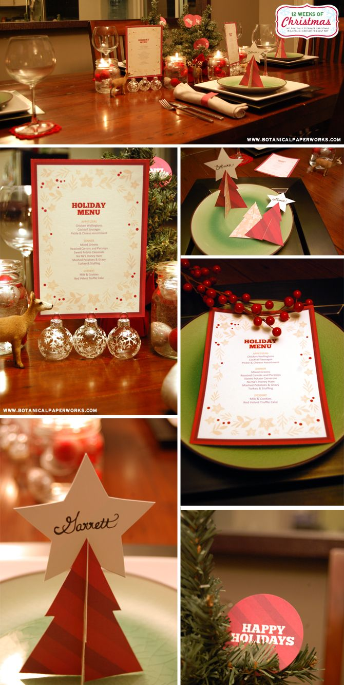 FOUR FREE PRINTABLES! Decorate your family dinner with these free printable holiday dinner decorations. Includes an customizable dinner menu, 3-D Christmas tree place cards, napkin rings and festive circle toppers.  You're going to <3 this!