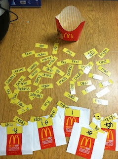 I got the little from our local McDs a few years back when I told them what it was for. KH  Long i spelling patterns i_e, -y, -ie, -igh, and -i using McD's fry containers, includes printable words and recording sheets~great sorting idea for anything