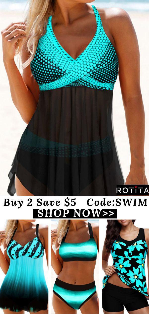 Polka Dot Print Asymmetric Hem Halter Neck Swimdress and Panty