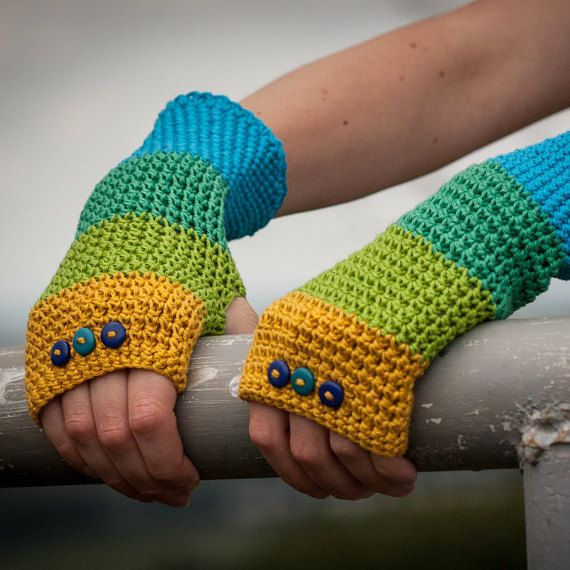 Blue Green Yellow Fingerless Gloves / 100% Cotton by RUKAMIshop