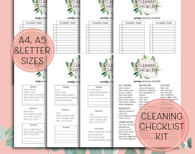 Printable Cleaning Checklist - Editable Daily, Weekly, Monthly and Spring cleaning printables in A4, A5 and letter sizes