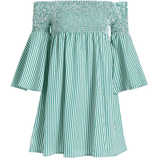Smocked Striped Off Shoulder Mini Dress (£14) ❤ liked on Polyvore featuring dresses, striped dress, mini dress, blue mini dress, short dresses and short blue dress