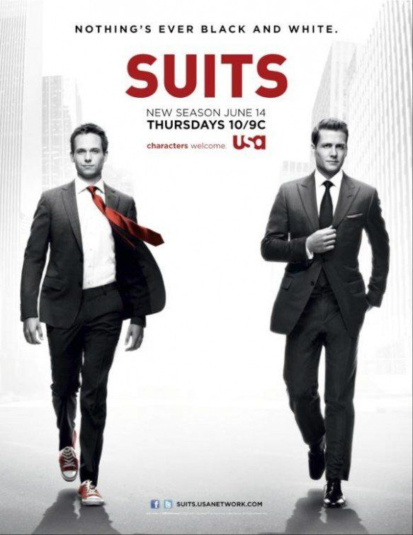 Suits  On the run from a drug deal gone bad, Mike Ross, a brilliant college-dropout, finds himself a job working with Harvey Specter, one of New York City's best lawyers.