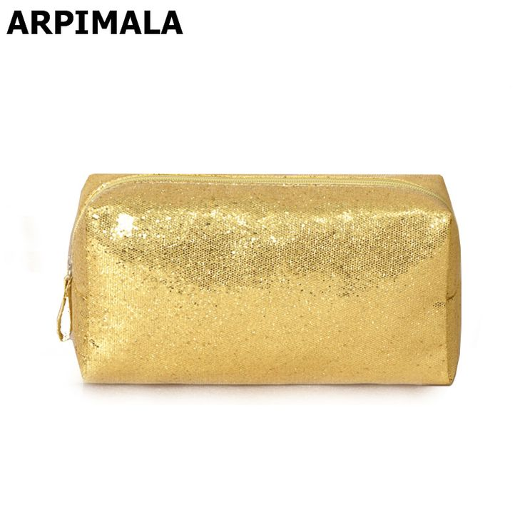 Designer Cosmetic Bags Sequins Luxury Toiletry Bags Organizer Gold Silver Women Makeup Bag Beautician Travel Make Up Beauty Case