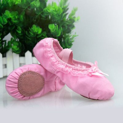 Girls Women Lace Ballet Shoes Pink Beige Red Ballet Flats Full Canvas Cotton