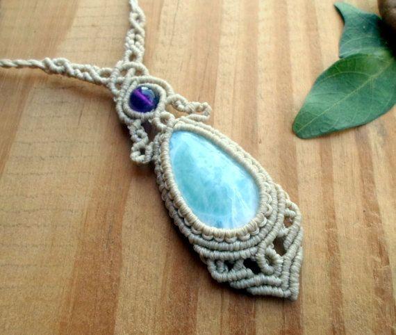 Larimar macrame necklace healing jewelry macrame by SelinofosArt