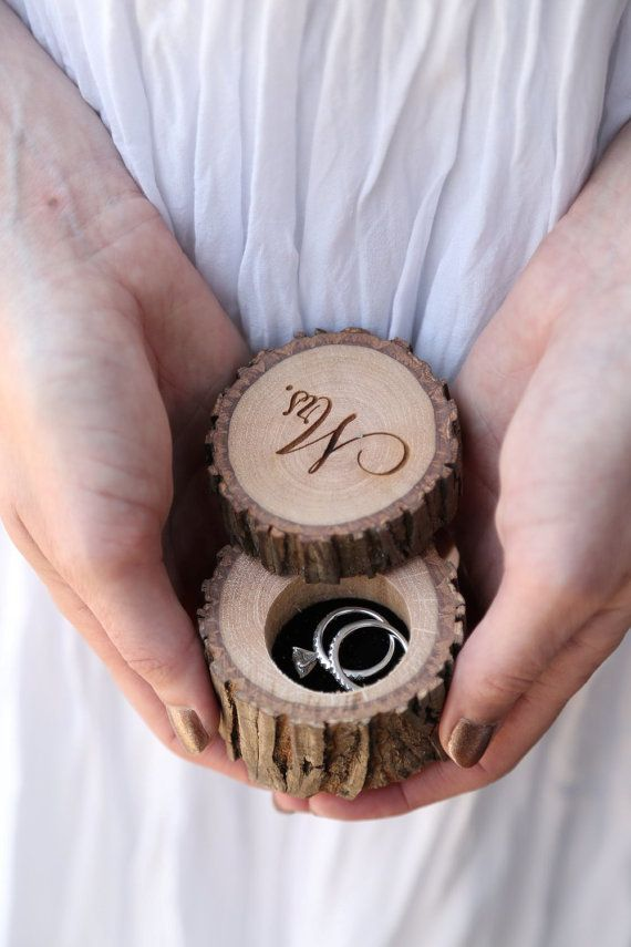 Engraved Reclaimed Hickory Wedding Ring holder by Black Label Decor. Photo by Bleudog Fotography