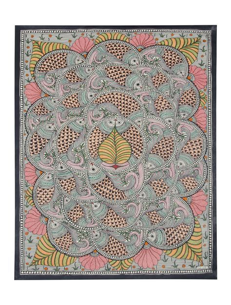 Buy Multi Color Multicolor Fish Madhubani Painting 30.2in x 22in Handmade paper paint Art Decorative Online at Jaypore.com